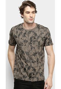 Camiseta All Free Galhos & Folhas Masculina - Masculino-Café