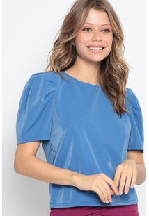 Blusa Com Brilhos & Botã£O - Azul - Chocoleitechocoleite