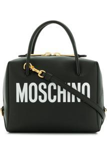 Moschino Bolsa Transversal Pequena Com Logo - Preto
