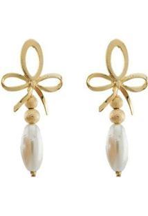 Brinco Barbara Strauss Mégara Em Pérola Lalique Revestido Em Ouro 18K - Feminino-Branco