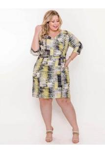 Vestido Plus Size Palank Girassol Feminino - Feminino