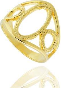 Anel Elipse Círculos Semi Joia - Feminino-Dourado