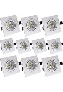 Spot Dicróica Led Direcional 3W Branco Quente Quadrado Kit 10