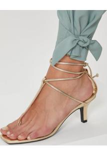 Sandália Salto Fino T-Bar Metalizada