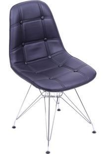 Cadeira Eames Botonãª- Preta & Prateada- 83X44X39Cm