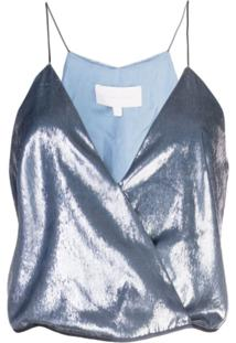 Michelle Mason Blusa Com Transpasse - Azul