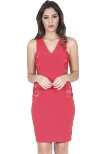 Vestido Romaria Curto Renda Lateral Vermelho