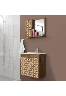 Conjunto Para Banheiro Catar Madeira Rústica/Madeira 3D - Bechara Móveis