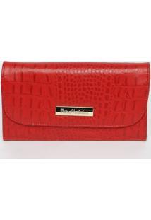 Carteira Croco Com Tag - Vermelha- 10X19X2,5Cm