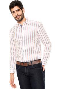 Camisa Wrangler Premium Branca/Laranja