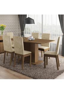 Conjunto Sala De Jantar Susan Madesa Mesa Tampo De Madeira Com 6 Cadeiras
