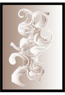 Quadro Com Moldura Ondas Cinza Rosado E Branco (45X32)