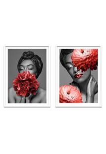 Quadro 67X100Cm Brenna Mulher Com Flores Vermelha Nórdico Moldura Branca Sem Vidro