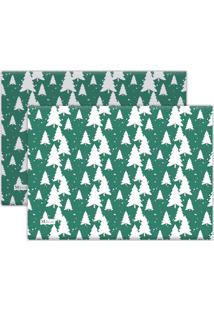 Jogo Americano Mdecore Árvores Natal 40X28Cm Verde 2Pçs