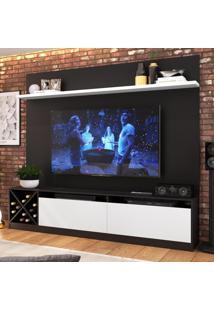 Rack Com Painel Para Tv Até 60 Polegadas 2 Portas 2023 Ptx/Bac Preto/Branco - Quiditá Móveis