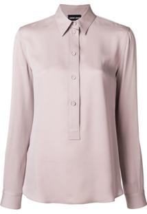 Farfetch. Giorgio Armani Camisa Mangas Longas De Seda - Pink   Purple ee2e01b5da8c7