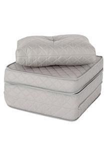 Puff Multiuso Bordado Matelassê+Travesseiro 3 Em 1 Solteiro
