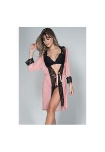 Robe Tule Bella Fiore Modas Com Renda Rosê