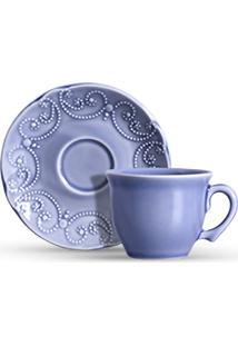 Conjunto Xicaras Chá Cerâmica C/Pires 200Ml 6Pcs Cj8
