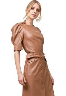 Blusa Mx Fashion Com Mangas Bufantes Bianca Caramelo
