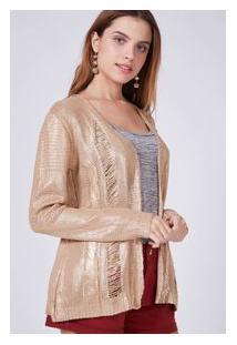 Cardigan Tricot Foil Dourado Nude/Dourado