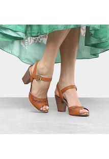 Sandália Dakota Salto Grosso Laser Feminina - Feminino-Caramelo