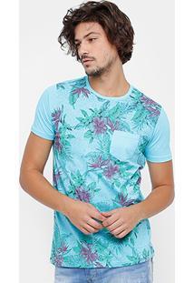 Camiseta Side Way Floral Bolso Masculina - Masculino