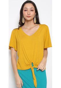 Blusa Lisa Com Amarraã§Ã£O- Amarelo Escuro- Vittrivittri