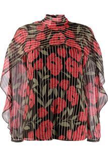 Red Valentino Blusa Camellia Estampada - Preto
