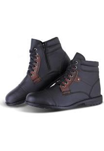 Bota Sapato Flex Worker Com Zíper Masculino - Masculino-Preto