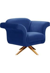 Poltrona Decorativa Troia Suede Azul Royal Com Base Giratória De Madeira - D'Rossi