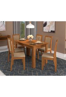 Conjunto De Mesa De Jantar Bárbara Flex Com 6 Cadeiras Lívia Suede Marrom E Marfim