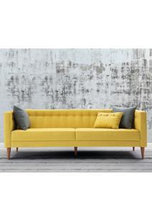 Sofá Com 3 Almofadas Neon 1,63M Estrutura Eucalipto Pés Madeira Maciça Veludo Animalle Amarelo