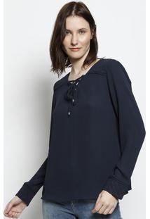 Blusa Com Matelass㪠- Azul Marinhoscalon