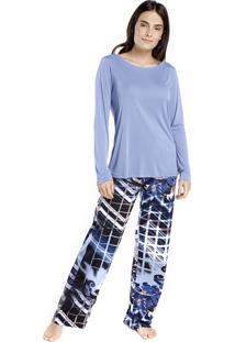 Pijama Feminino De Inverno Azul Istambul - Kanui