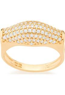 Anel Formato Pavê Zircônias Rommanel - Feminino-Dourado