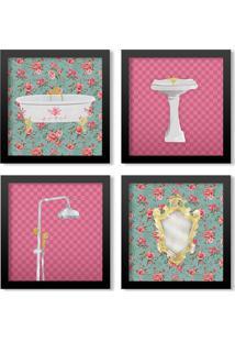 Kit 4 Quadros Los Quadros Decorativos Banheiro Artístico M2 Com Moldura Preta E Vidro
