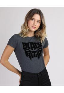 Blusa Feminina Pantera Negra Manga Curta Decote Redondo Cinza Mescla Escuro