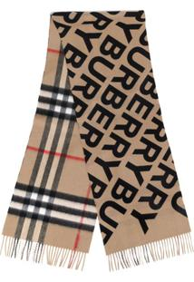 Burberry Cachecol Xadrez Giant De Cashmere Com Logo - Marrom