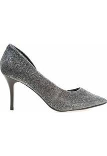 Sapato Scarpin Salto Médio Bico Fino 392 Hinfinity Feminino - Feminino-Prata