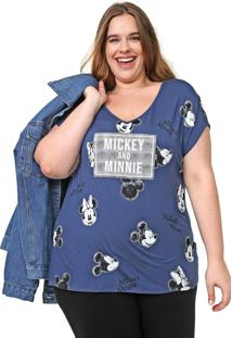 Blusa Cativa Disney Plus Mickey E Minnie Azul