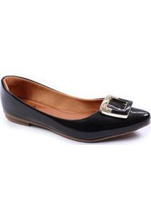 Sapatilha Thamy Shoes Bico Fino Verniz Feminina - Feminino-Preto