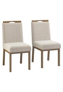Conjunto 2 Cadeiras Estofadas C/ Puxador Volttoni Sofia Linho Nogueira
