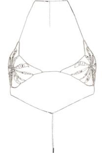 Ermanno Scervino Gem Studded Bra Top - Prateado