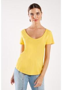 T-Shirt Malha Básica Stone Sacada Feminina - Feminino-Amarelo