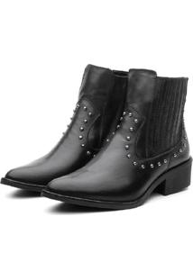 Bota Ankle Boot Couro Venetto Country Preta - Kanui