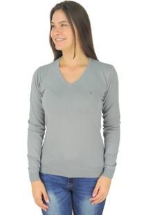 Suéter Feminino Tricô Premium Brooklyn Gola - Feminino-Cinza