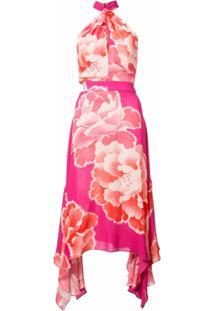 Josie Natori Vestido Assimétrico - Rosa