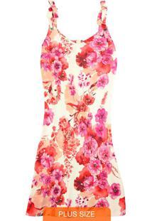 Vestido Bege Curto Floral Com Amarração