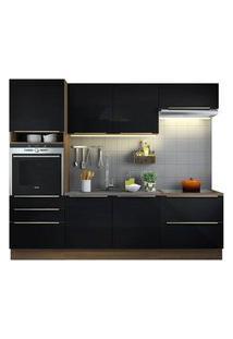 Cozinha Completa Madesa Lux Com Armário E Balcão 6 Portas 5 Gavetas Rustic/Preto Cor:Rustic/Preto